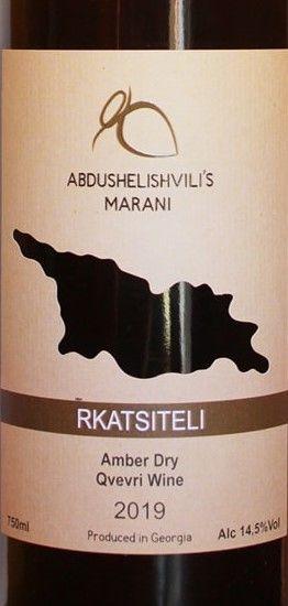 Rkatsiteli Abdushelishvili's Marani 2019 Amber Dry Qvevri 2